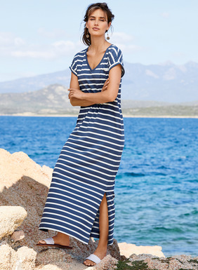 The essence of spring, nautical blue and white stripes give our fresh t-shirt dress its classic appeal. Cool and casual in lightweight pima (49%), modal (47%) and spandex (4%) jersey, with a v-neck, cuffed sleeves, patch pocket and side vents.