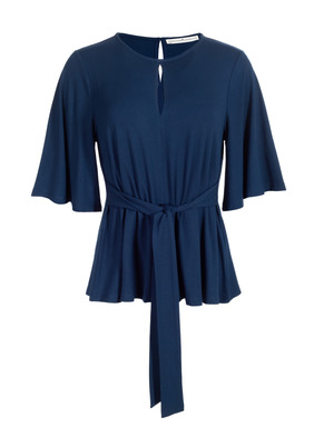 The essence of sophistication, the contemporary top is styled with a keyhole neckline, fluttery elbow-sleeves and a swingy shape that cinches in front or back with an attached sash; back button closure.  Sewn of drapey viscose (92%) and spandex (8%) jersey.
