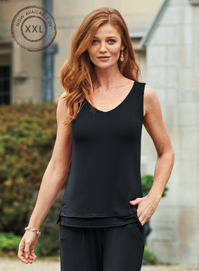 The contemporary jersey tank top reverses from a ballet neck to a v-neck. Constructed in two layers of viscose (92%) and spandex (8%) jersey, and fabulous paired with the cropped  wide-leg jersey pants.