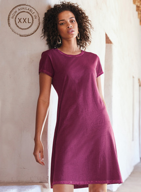 Easy, one-and-done dressing,  perfect for relaxed summer days. The t-shirt dress is sewn of bright Orchid pima jersey that's garment-dyed for a vintage patina. With a round neck and flattering, fit-and-flare shape.