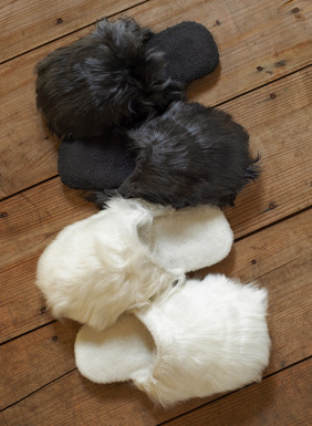 For giving or keeping, superfluffy suri alpaca fur slippers are shearling lined for the ultimate in warmth.
