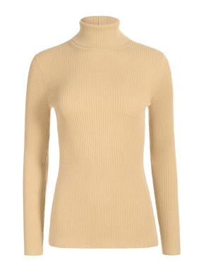 Ein edles Basic: unser fully-fashioned feingestrickte, breitgerippte Rollkragenpullover. 60 % Pimabaumwolle und 40 % Modal.