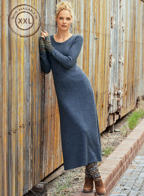 Gorgeous in its simplicity, our luxe sweater-dress is full-fashion knit of ultra-soft baby alpaca (60%), nylon (35%) and wool (5%). Spare A-line silhouette; crewneck; rib trim.