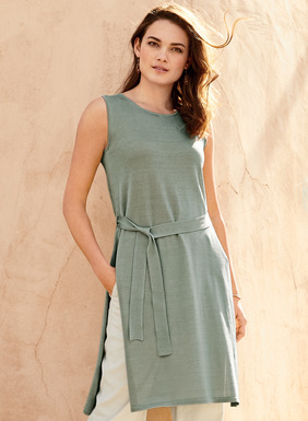 Chic and sophisticated, our breezy, sleeveless tunic is full-fashion, fine gauge knit of pima (60%) and modal (40%), with a self-belt and deep side slits.