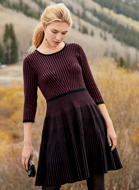 Ingeniously engineered in a mix of textural, wine and black striping, this universally flattering, fit-and-flare silhouette is fine gauge knit of lightweight pima, with a contrast banded waist and ¾-sleeves.