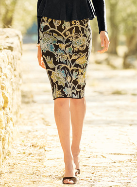 Vining flora from an Indonesian batik textile are silhouetted in teal, gold and cream on black on our shapely pencil skirt. Jacquard knit of pima (97%) and spandex (3%) for a fabulous fit.