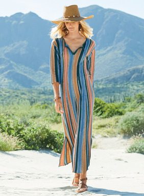Channeling a gypset vibe, our long caftan dress is striped in tweeded desert hues of sand, rose, sky and navy. Complex engineering belies the simple silhouette, constructed in links knit gores of lightweight pima for an easy flaring shape. Detailed with a tasseled split neck, drop shoulders, ¾-sleeves and side slits.