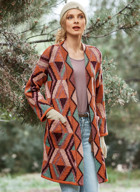 Showcasing a bold, optic argyle, the jacquard knit cardigan brings colorful cheer to the grayest days in mauve, wine, paprika, blush and sky. Dramatic outerwear  in light and lofty, sublimely soft baby alpaca (41%), pima (29%), nylon (26%) and wool (4%), with drop shoulders, patch pockets and a banded, buttonless placket.
