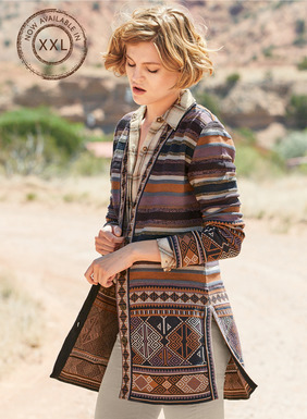 Textural stripes and jacquard geometrics from a vintage Turkish rug create colorful pattern play on our cardigan. Knit in hues of navy, dusty lilac, burnt orange, raisin, slate blue and sand pima, with deep v-neck and side slits.