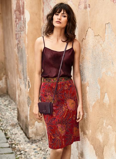 plum blossom pima pencil skirt