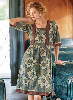 Tropical flora and chevron banding form the graphic patterning on our pima jacquard dress. In cerulean, olive and sand with pops of coral, the easy, vintage-inspired shape has a square neckline, wide dolman sleeves and a seamed raised waist that releases to a pleated skirt.