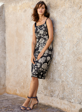 Showcasing English transferware florals in timeless navy and cream, this textural, pima jacquard knit dress exudes retro-60s allure, with solid tank straps and a squared neckline.