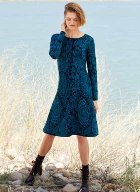 Night-blooming botanicals flourish in tonal blues on our jacquard knit pima dress. Simply styled with a round neck, bracelet-length sleeves and a fitted bodice that releases to a flaring hem.