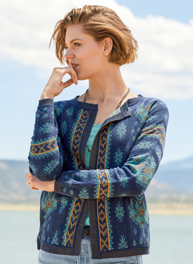 Our refined cardigan displays geometrics from a 17th century Greek embroidery. Jacquard knit of pima in bright teal, cerulean and brass on sapphire, interspersed with textural links knit columns. Styled with dolman sleeves and buttonless collar, and framed with plaited rib knit trim.