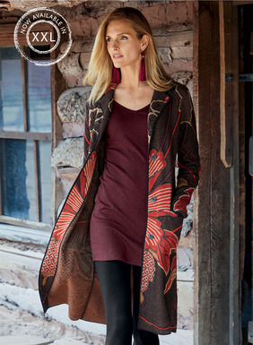 Bold hibiscus blooms from a vintage kimono are magnificent on the textured black ground of our jacquard knit coat. Patterned front and back in lacquer red, walnut, brass, plum and black pima. Notched collar; patch pockets; contrast binding.