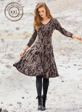 Textural botanicals from a vintage brocade are jacquard knit in mauve on aubergine pima. One of our bestselling silhouettes, the dress is engineered in gores that release to a flaring, twirlable hem. Double v-neck; ¾-sleeves; contrast binding.