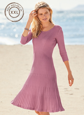Brightened for sunny days in Petunia-hued pima, the fine gauge knit dress is strategically engineered in sculptural ribs for a flawless, fit-and-flare silhouette. Sophisticated day-into-evening, detailed with a scoop neck and ¾-sleeves.