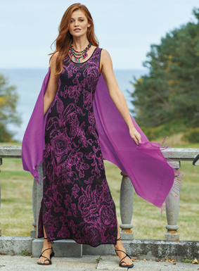 "In the richest shade of magenta, knit roses unfurl on the black pointelle lace ground of this beguiling pima jacquard dress. A simple stunner, with contoured shoulders and side-slits. Worn underneath, the indispensable <a href=""/product/981339-new+silk+slip+dress+39+inch.do"" target=""_blank"">black silk slip</a>."