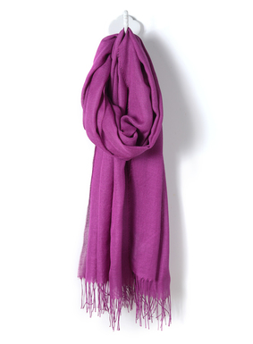 The perfect evening wrap, our baby alpaca (70%) and silk (30%) woven shawl with twisted fringe trim.