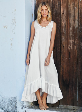 Woven of softest pima, our nightgown is as airy as a breeze. With handcrocheted trim at the double-scoop neck, it floats to a full, high-low hem with ruffled flounce; pockets.
