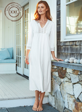 Scalloped handcrocheted lace lends romance to the v-neck yoke and ¾-sleeves of our dreamy nightgown. Soft as a cloud in White pima jersey, with a lettuce-edged hem.