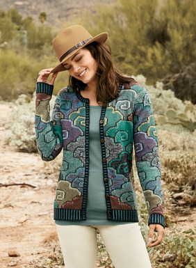 Stylized clouds– in cool, tweeded shades of teal, aqua and green touched with violet and pale yellow–drift across this Kaffe Fassett master-piece. Intarsia knit by hand in textural mercerized and bouclé pima yarns, with contrast plaited ribbing at the crewneck, placket, cuffs and hem.