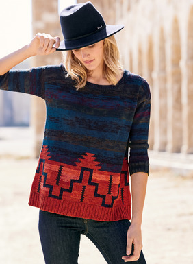 Stepped geometrics echoing a Southwest blanket are masterfully intarsia knit into this striking handframed pullover. Striations of tweeded pima shift from violet to midnight blue, walnut and fiery orange red. Styled with ¾-sleeves and relaxed ribbed hem.