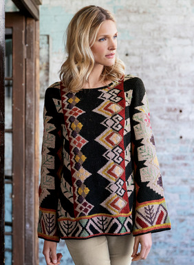 An imaginative take on Ottoman rug motifs, stylized botanicals and geometrics pop against the textural black bouclé ground of this work-of-art tunic. Masterfully intarsia knit by hand in a palette of bold hues–from russet, stone, mint and ochre to fuchsia, lilac and coral. Easy A-line fit; bell sleeves; handcrocheted trim. Pima (84%) and alpaca (16%).