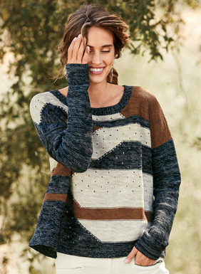 An intriguing landscape of tweeded striations and open pointelle stitching patterns our handloomed pullover, inspired by the Kazakh steppes. Intarsia knit in navy, dusk blue, rust and birch pima, the fit is relaxed and roomy, with drop shoulders and rib trim.