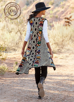 Stripes, diamonds and traditional Peruvian geometrics are captured in copper, plum, teal, pumpkin, olive and bold black on a tweeded stone ground. A bohemian statement piece, our long pima vest is exquisitely intarsia knit by hand and closes in front with a tasseled tie.