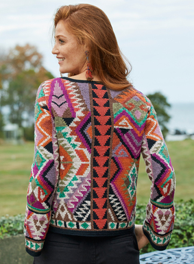Bright and beautiful, our gallery-worthy cardigan is intarsia knit by hand in a textural mix of mercerized (83%) and bouclé (17%) pima yarns. In brilliant tweeded shades of fuchsia, lilac, mango and coral cooled by jade, cream, taupe and black. Detailed with  a round neck, belled, bracelet-length sleeves and handcrocheted trim.