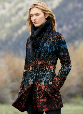 Textural bouclé flowers are sketched in black on the sunrise ombré ground of this rich sweater-coat. Jacquard knit of alpaca (70%), pima (25%) and nylon (5%). Shawl collar; crossover lapel; covered buttons; pockets.