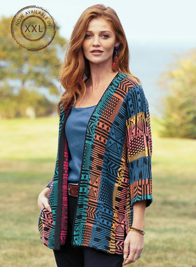 The rythmic patterning of west African textiles inspired this graphic pima cardigan. Jacquard knit in vivid jewel tones grounded in black, with drop shoulders, ¾-sleeves and a buttonless placket; side slits.