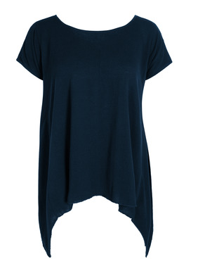 Our minimalist tunic in fine gauge pima crepe has a wide neckline, exposed seaming and draping side panels.
