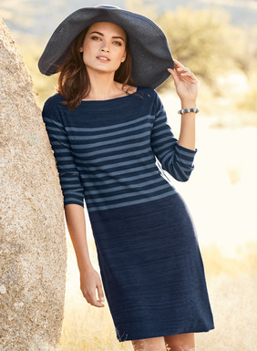 As simple and easy as summer, the fine gauge pima dress is banded in denim stripes on a striated sapphire ground. A body-skimming shape, with overlapped bateau neck and ¾-sleeves.
