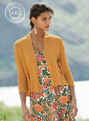 Our bestselling cardigan returns in a pretty pima lace knit. Shawl collar; ¾-sleeves; flyaway back peplum.