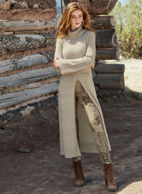 Our tunic is long and lissome, with a relaxed cowlneck, belled sleeves and flyaway front slit. Full-fashion knit of delectably soft pima (48%), baby alpaca (31%), nylon (18%), and wool (3%); ribbed trim.