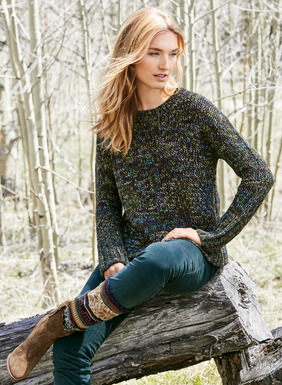 Cozy warmth for après ski, the richly hued pullover is a soft chunky knit of hand-painted alpaca (78%), viscose (20%), and wool (2%). In denim-friendly shades of turquoise, lime, pine green and violet grounded in dark charcoal, with drop shoulders and ribbed trim.
