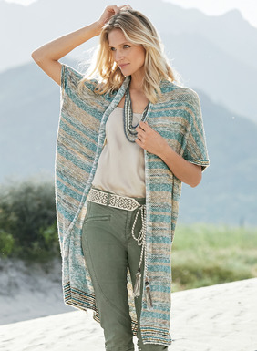 Knit of hand-painted and ivory flamé yarns in a textural tuck stitch, our long, easy cardigan has a rolled shawl collar, drop shoulders and striped ribbed trim. Pima (98%) and polyamide (2%).