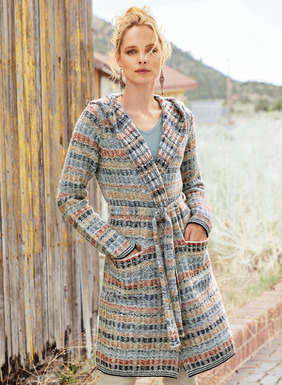 Our irresistible wrap cardigan is patterned with abstract striping in weathered shades of navy, chambray, brass, burnt orange and cream. Knit in a reverse tuck stitch of frothy, handpainted alpaca (95%) and polyamide (5%) bouclé yarns, and styled with a hood, buttonless placket, self-belt and patch pockets; microstriped trim.
