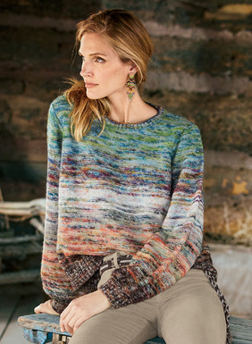Handpainted yarns are knit in soft striations that shift from oceanic blues and greens into warm earth tones. Reverse jersey knit of cozy alpaca (50%), cotton (37%) and wool (13%), the cropped pullover has a relaxed, easy fit, with blouson sleeves and chunky ribbed trim.