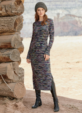 The epitome of cozy luxury, our sweater-dress is knit of handpainted bouclé yarns in rich jewel tones grounded in black. Soft and frothy in luxe alpaca (91%) and wool (9%), with a crewneck, ribbed trim and side slits.