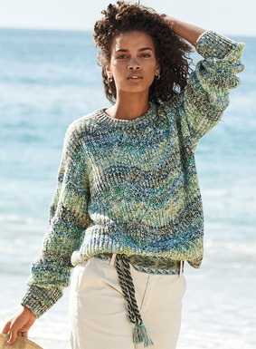 Awash in an ombré of waves, our crewneck is knit in beach glass hues of pistachio, denim, turquoise  and ivory. The handpainted cotton flamé yarns in a textural shaker stitch  are lightened with pointelle openwork. Drop shoulders; rib trim.