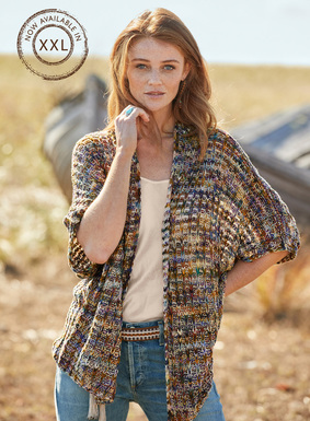 Effortlessly interesting, the textural topper is knit of vibrant handpainted cotton yarns in a drapy, openwork knit. Relaxed and intentionally oversized, it's styled with drop shoulders, dolman elbow-length sleeves and a buttonless placket.
