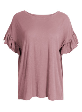 Flatternde Ärmel mit ungesäumten Rüschen verleihen dem bequemen Flammé-Shirt feminines Flair. Aus unregelmäßigem Baumwolljersey, mit Rundhalsausschnitt und überschnittenen Schultern.