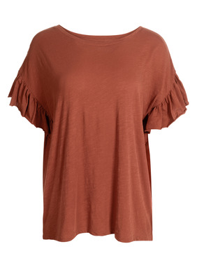 Fluttery sleeves with raw-edged ruffles give this easy flamé tee its feminine flair. In slubby cotton jersey, with a round neck and drop shoulders.