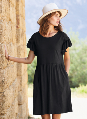 The essence of spring, our insouciant t-shirt dress is sewn of slubby cotton jersey flamé. The relaxed silhouette features fluttery sleeves with raw-edged ruffles and a raised waist seam that releases in gathers to a flowy hem; pockets.