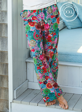In a whimsical print designed by Kaffe Fassett, our wide leg PJ pants of luxe pima cotton jersey showcase a collage of reimagined wildflowers in fun, hyperbright hues. Elasticized waist; pockets.