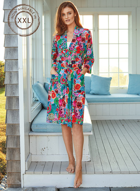 Kaffe Fassett's brilliantly hued blooms tumble down our luxe robe in shades of turquoise, fuchsia, poppy, pink and lime. Tailored of Peruvian pima cotton jersey, with patch pockets and self-belt.
