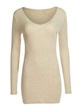 The rib knit v-neck tee is cut long and lean to pull down as a tunic or scrunch up as you prefer. Knit of a soft, substantial blend of pima (98%) and Lycra (2%).
